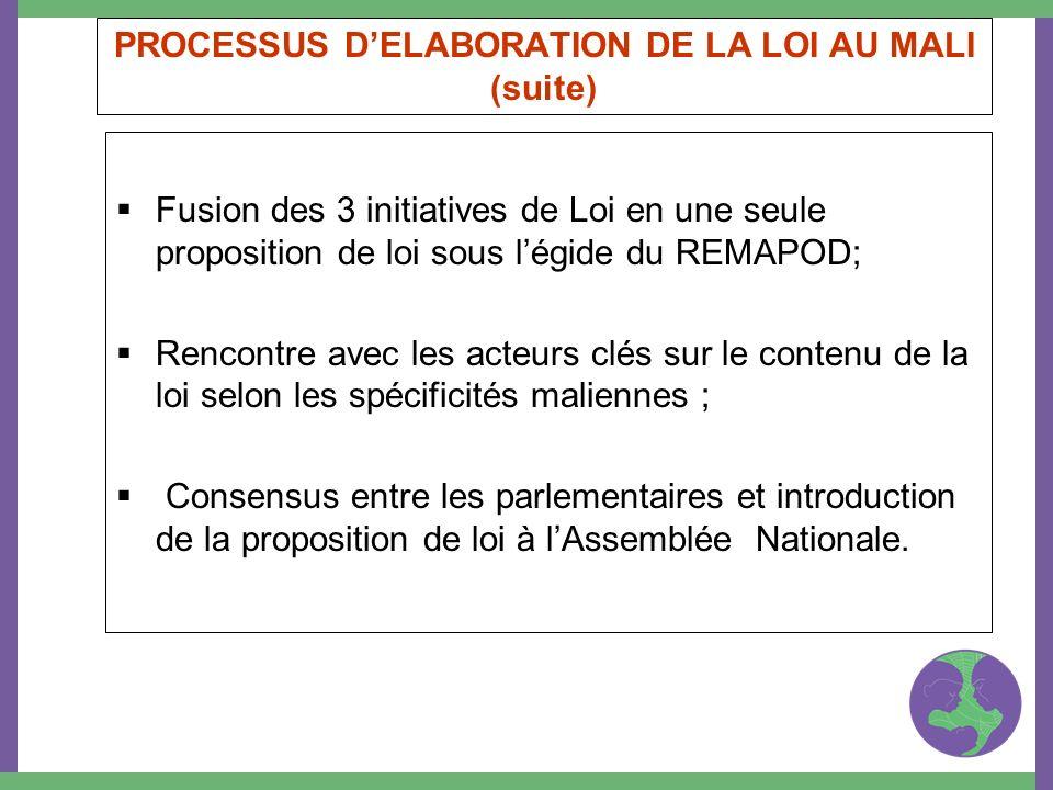 PROCESSUS DELABORATION DE LA LOI AU MALI (suite) Fusion des 3 initiatives de Loi en une seule proposition de loi sous légide du REMAPOD; Rencontre ave