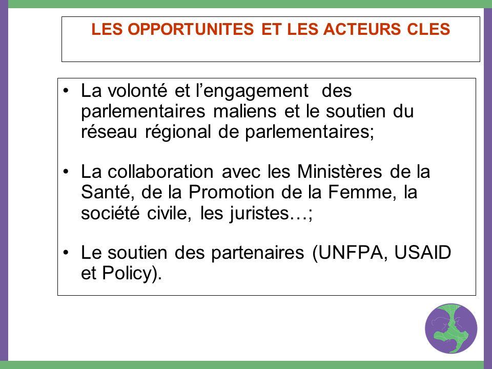 LES OPPORTUNITES ET LES ACTEURS CLES La volonté et lengagement des parlementaires maliens et le soutien du réseau régional de parlementaires; La colla