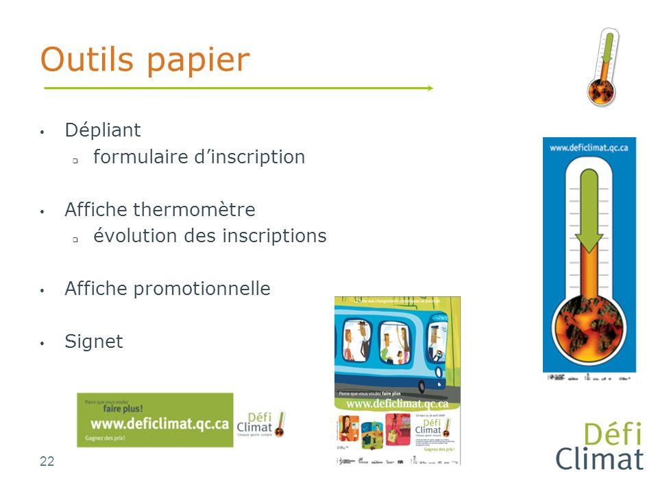 22 Outils papier Dépliant formulaire dinscription Affiche thermomètre évolution des inscriptions Affiche promotionnelle Signet
