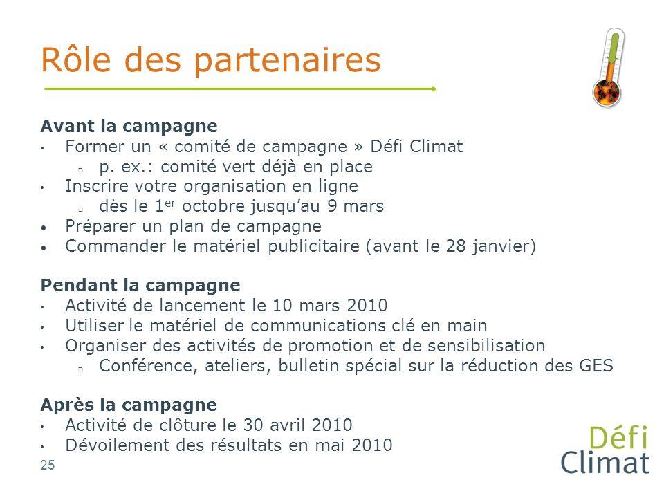 25 Rôle des partenaires Avant la campagne Former un « comité de campagne » Défi Climat p.