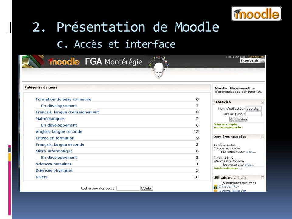 2.Présentation de Moodle c. Accès et interface