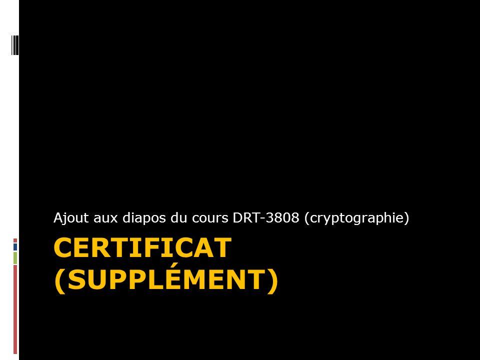 CERTIFICAT (SUPPLÉMENT) Ajout aux diapos du cours DRT-3808 (cryptographie)
