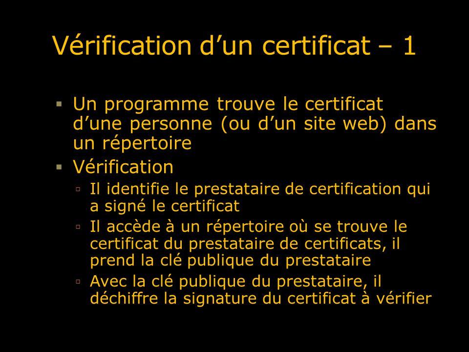 Vérification dun certificat – 1 Un programme trouve le certificat dune personne (ou dun site web) dans un répertoire Vérification Il identifie le prestataire de certification qui a signé le certificat Il accède à un répertoire où se trouve le certificat du prestataire de certificats, il prend la clé publique du prestataire Avec la clé publique du prestataire, il déchiffre la signature du certificat à vérifier