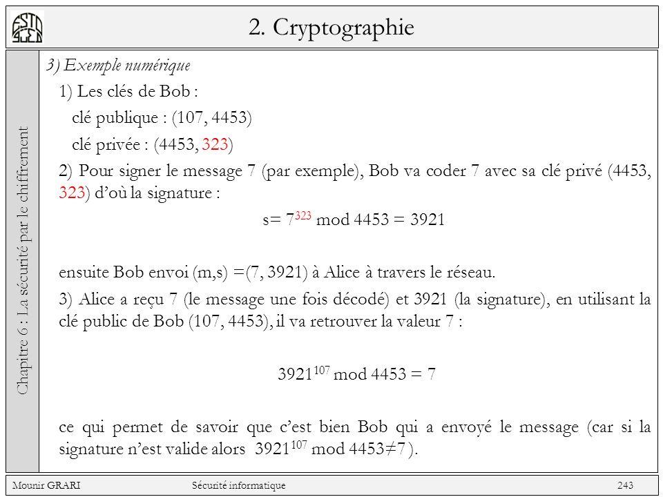 2. Cryptographie 3) Exemple numérique 1) Les clés de Bob : clé publique : (107, 4453) clé privée : (4453, 323) 2) Pour signer le message 7 (par exempl
