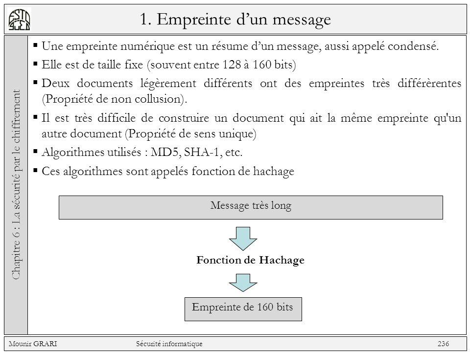 1.Empreinte dun message Une empreinte numérique est un résume dun message, aussi appelé condensé.