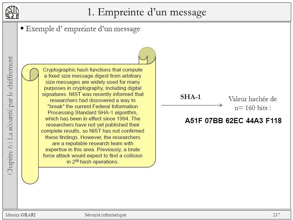 1. Empreinte dun message Exemple d empreinte dun message Chapitre 6 : La sécurité par le chiffrement Mounir GRARI Sécurité informatique 237 SHA-1 Vale