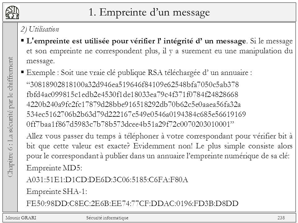 1. Empreinte dun message 2) Utilisation L'empreinte est utilisée pour vérifier l intégrité d un message. Si le message et son empreinte ne corresponde