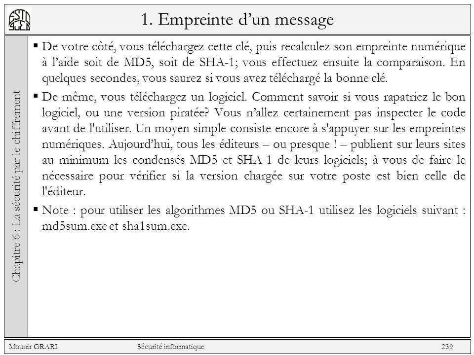 1. Empreinte dun message De votre côté, vous téléchargez cette clé, puis recalculez son empreinte numérique à laide soit de MD5, soit de SHA-1; vous e