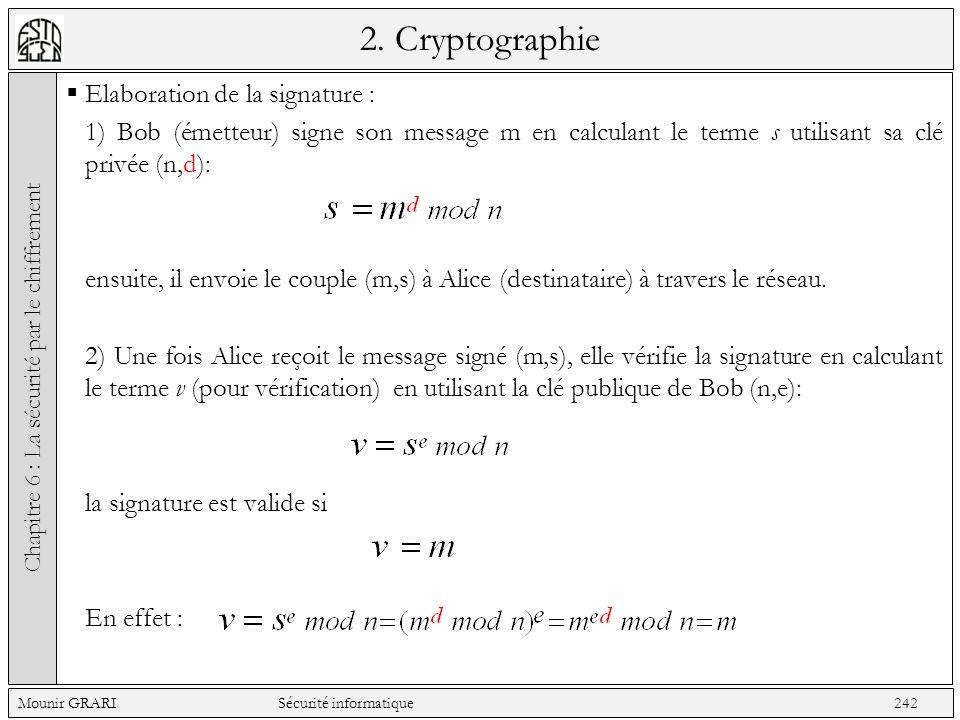 2. Cryptographie Elaboration de la signature : 1) Bob (émetteur) signe son message m en calculant le terme s utilisant sa clé privée (n,d): ensuite, i