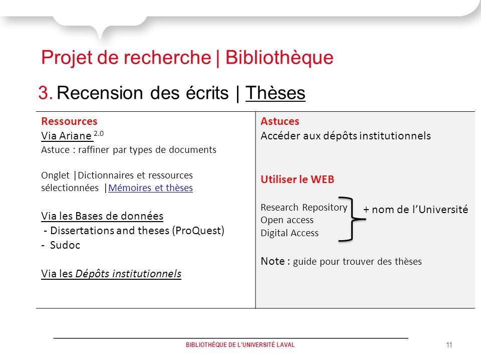 Projet de recherche | Bibliothèque 3.