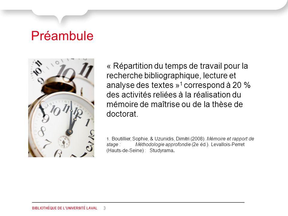 « Répartition du temps de travail pour la recherche bibliographique, lecture et analyse des textes » 1 correspond à 20 % des activités reliées à la réalisation du mémoire de maîtrise ou de la thèse de doctorat.