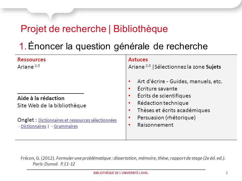 Projet de recherche | Bibliothèque 1.