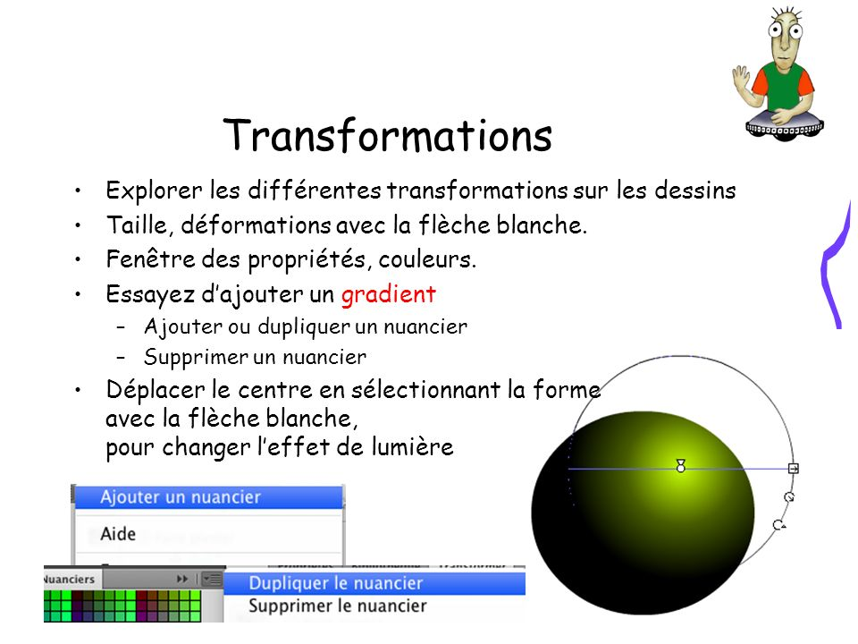 Transformations Explorer les différentes transformations sur les dessins Taille, déformations avec la flèche blanche.