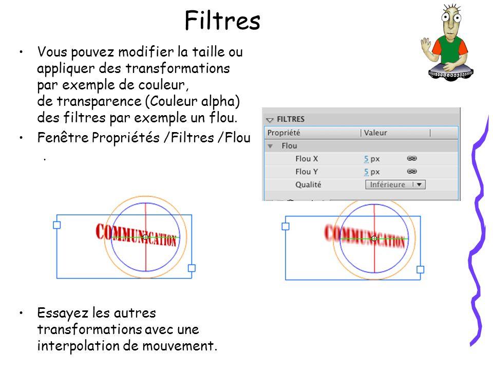 Filtres Vous pouvez modifier la taille ou appliquer des transformations par exemple de couleur, de transparence (Couleur alpha) des filtres par exemple un flou.