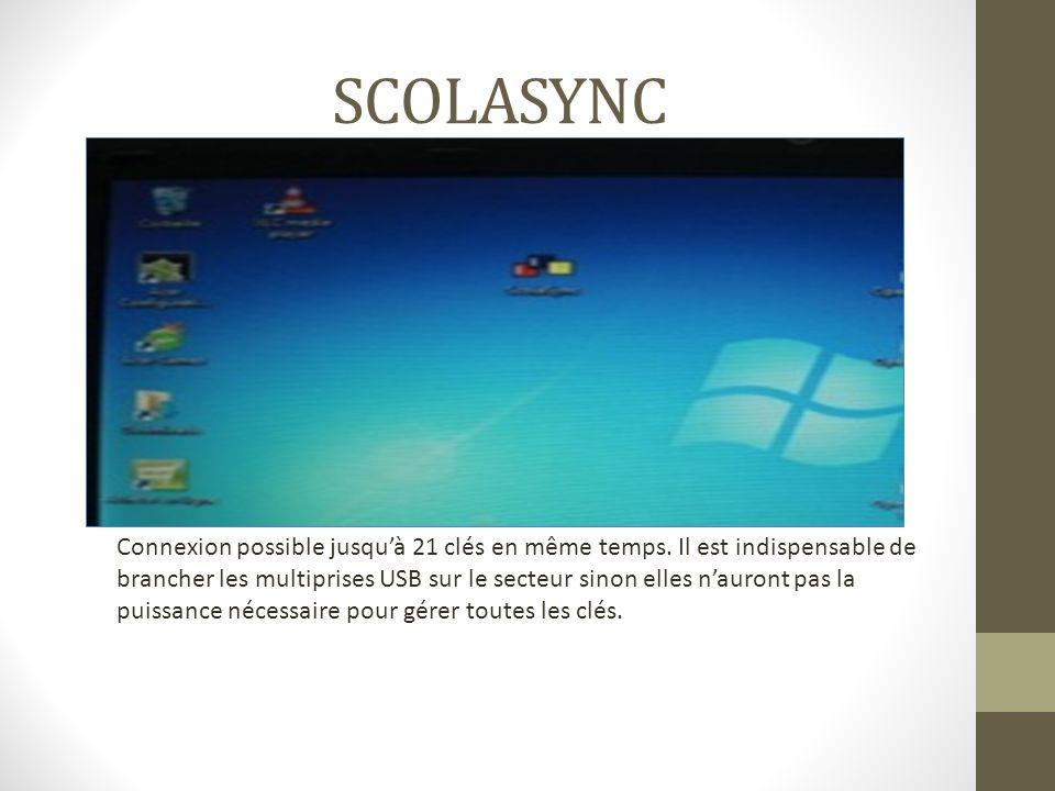 SCOLASYNC Connexion possible jusquà 21 clés en même temps. Il est indispensable de brancher les multiprises USB sur le secteur sinon elles nauront pas
