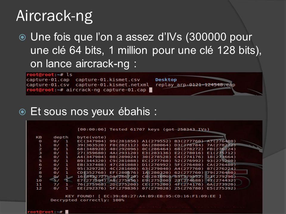 Aircrack-ng Une fois que lon a assez dIVs (300000 pour une clé 64 bits, 1 million pour une clé 128 bits), on lance aircrack-ng : Et sous nos yeux ébahis :