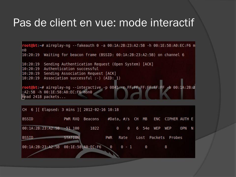 Pas de client en vue: mode interactif