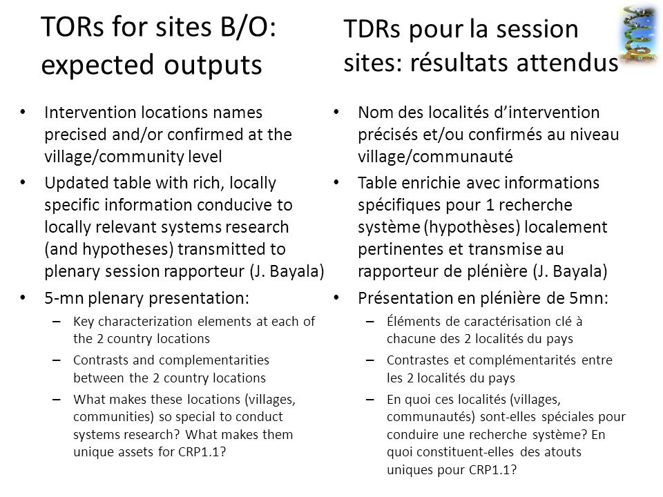 TORs for sites B/O: expected outputs Intervention locations names precised and/or confirmed at the village/community level Updated table with rich, locally specific information conducive to locally relevant systems research (and hypotheses) transmitted to plenary session rapporteur (J.
