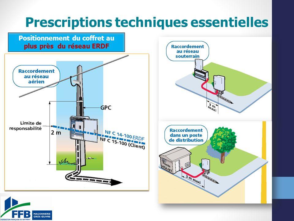 Prescriptions techniques essentielles Positionnement du coffret au plus près du réseau ERDF ERDF