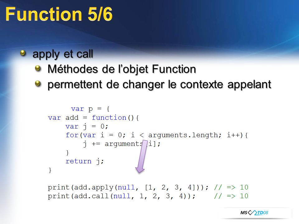apply et call Méthodes de lobjet Function permettent de changer le contexte appelant