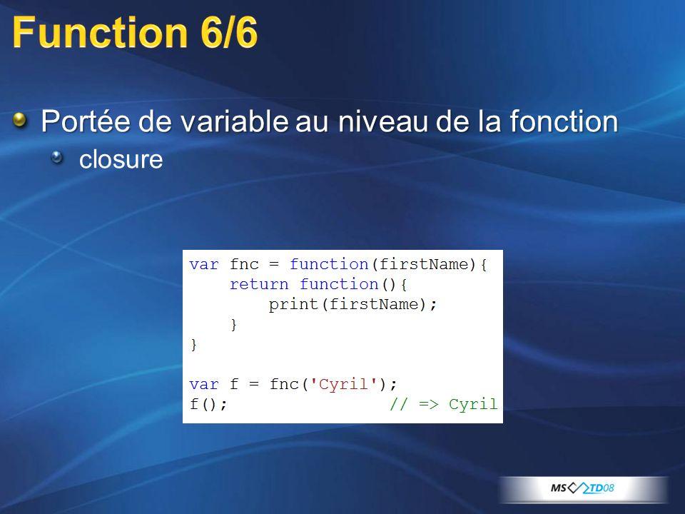 Portée de variable au niveau de la fonction closure