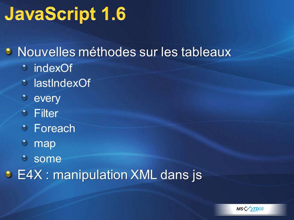 Nouvelles méthodes sur les tableaux indexOf lastIndexOf every Filter Foreach map some E4X : manipulation XML dans js