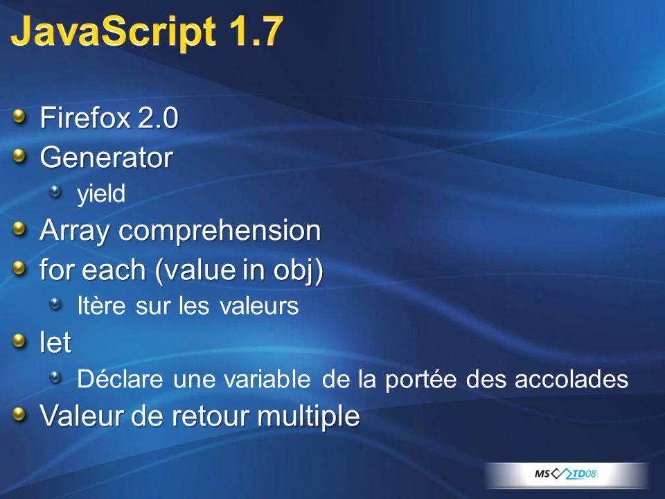 Firefox 2.0 Generator yield Array comprehension for each (value in obj) Itère sur les valeurslet Déclare une variable de la portée des accolades Valeur de retour multiple