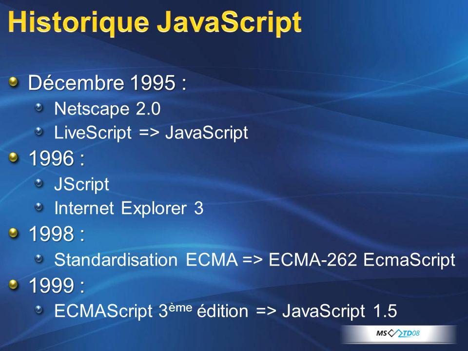 Décembre 1995 : Netscape 2.0 LiveScript => JavaScript 1996 : JScript Internet Explorer 3 1998 : Standardisation ECMA => ECMA-262 EcmaScript 1999 : ECMAScript 3 ème édition => JavaScript 1.5
