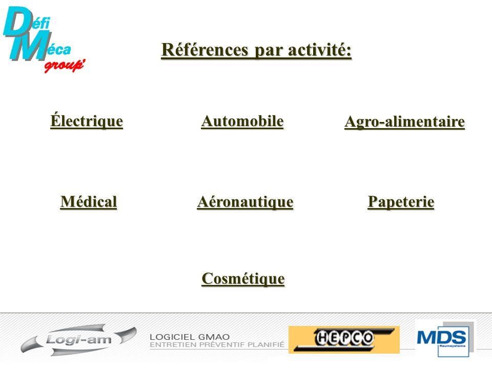 Électrique Références par activité: Automobile Agro-alimentaire Cosmétique AéronautiquePapeterieMédical