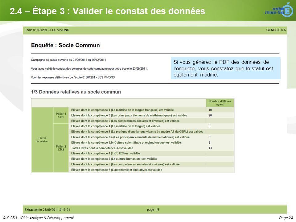 Page 24© DOS3 – Pôle Analyse & Développement 2.4 – Étape 3 : Valider le constat des données Si vous générez le PDF des données de lenquête, vous constatez que le statut est également modifié.