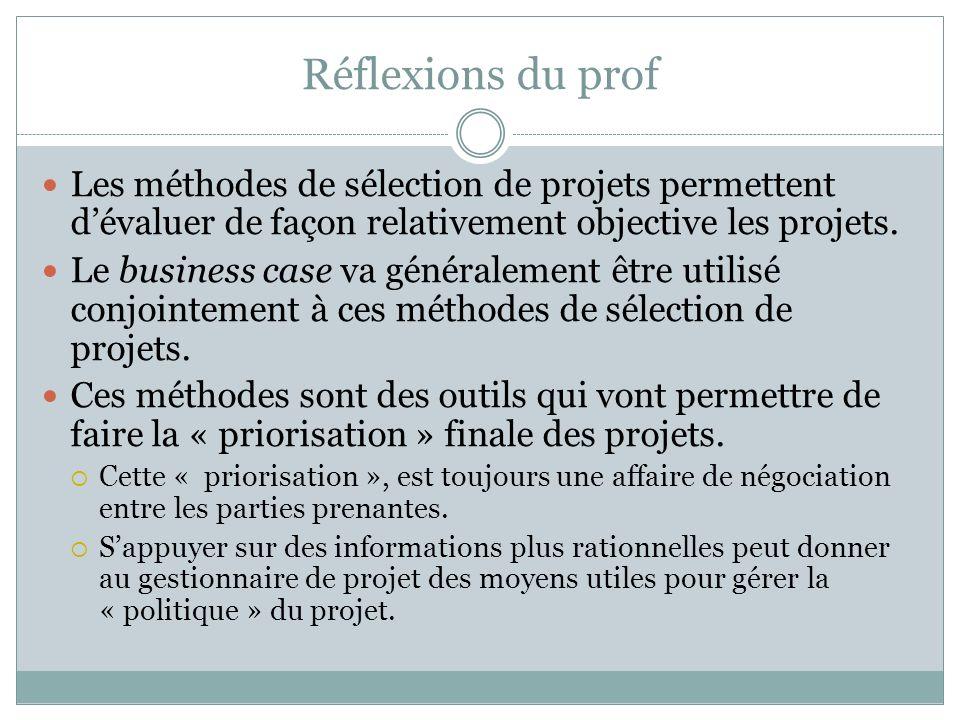 Réflexions du prof Les méthodes de sélection de projets permettent dévaluer de façon relativement objective les projets.