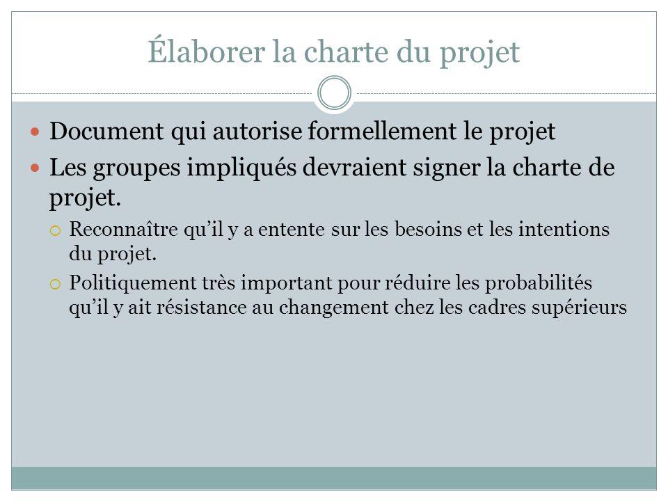 Élaborer la charte du projet Document qui autorise formellement le projet Les groupes impliqués devraient signer la charte de projet.