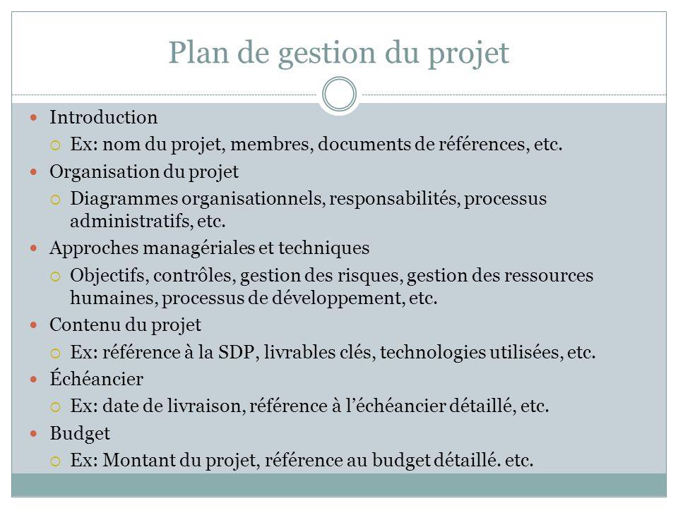 Plan de gestion du projet Introduction Ex: nom du projet, membres, documents de références, etc.