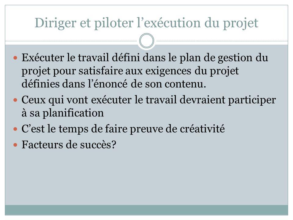 Diriger et piloter lexécution du projet Exécuter le travail défini dans le plan de gestion du projet pour satisfaire aux exigences du projet définies dans lénoncé de son contenu.