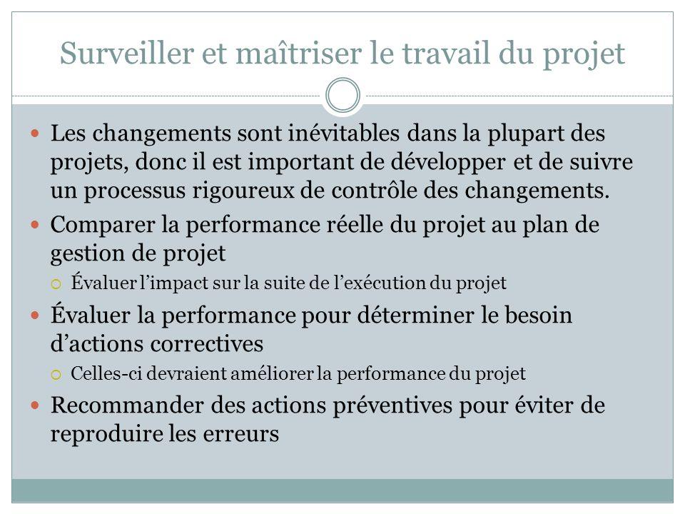 Surveiller et maîtriser le travail du projet Les changements sont inévitables dans la plupart des projets, donc il est important de développer et de suivre un processus rigoureux de contrôle des changements.