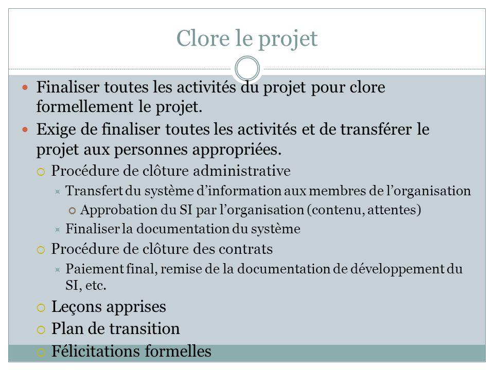 Clore le projet Finaliser toutes les activités du projet pour clore formellement le projet.