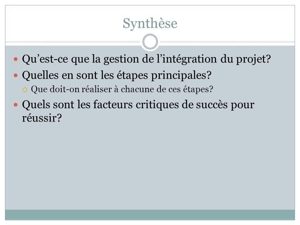 Synthèse Quest-ce que la gestion de lintégration du projet.