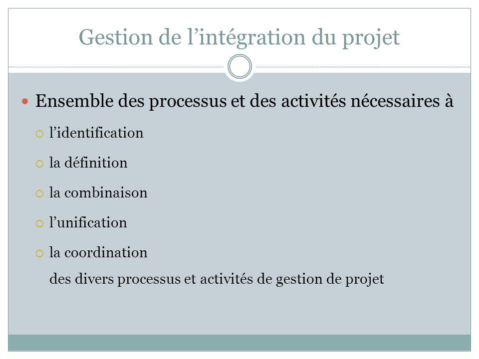 Gestion de lintégration du projet Ensemble des processus et des activités nécessaires à lidentification la définition la combinaison lunification la coordination des divers processus et activités de gestion de projet