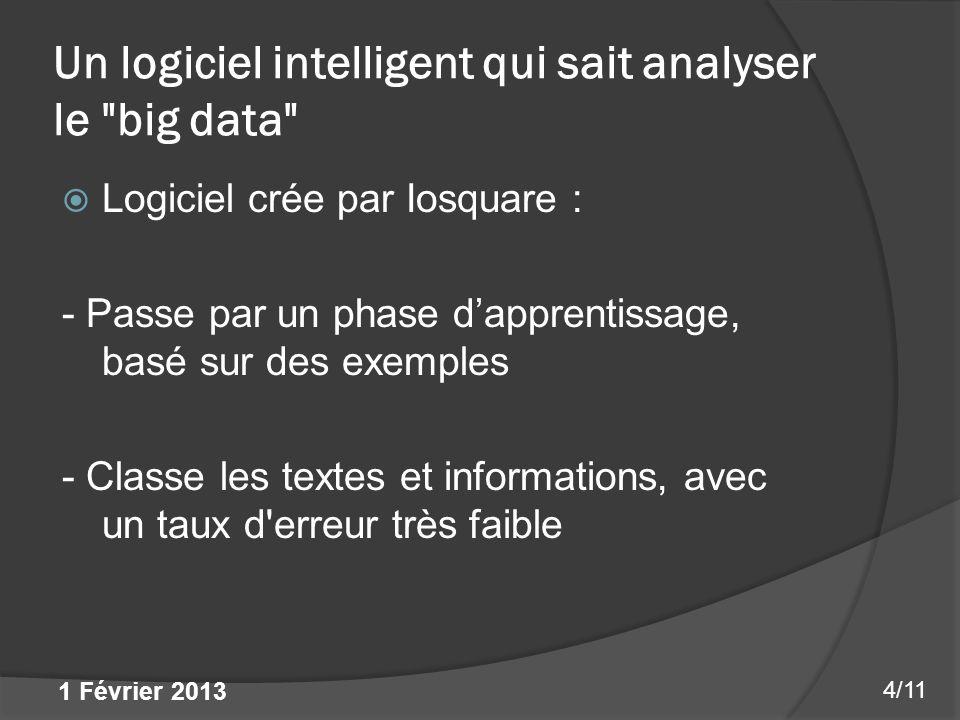 Un logiciel intelligent qui sait analyser le big data Logiciel crée par Iosquare : - Passe par un phase dapprentissage, basé sur des exemples - Classe les textes et informations, avec un taux d erreur très faible 4/11 1 Février 2013