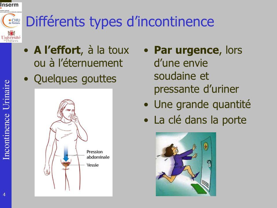 Incontinence Urinaire Différents types dincontinence A leffort, à la toux ou à léternuement Quelques gouttes Par urgence, lors dune envie soudaine et