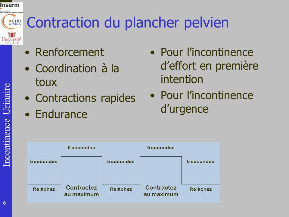 Incontinence Urinaire Contraction du plancher pelvien Renforcement Coordination à la toux Contractions rapides Endurance Pour lincontinence deffort en