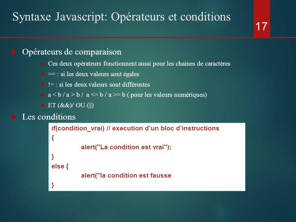 Opérateurs de comparaison Ces deux opérateurs fonctionnent aussi pour les chaines de caractères == : si les deux valeurs sont égales != : si les deux