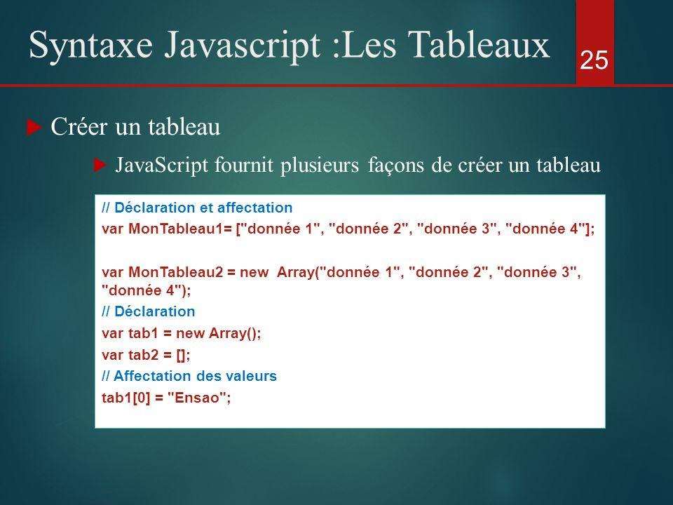 Créer un tableau JavaScript fournit plusieurs façons de créer un tableau 25 Syntaxe Javascript :Les Tableaux // Déclaration et affectation var MonTabl