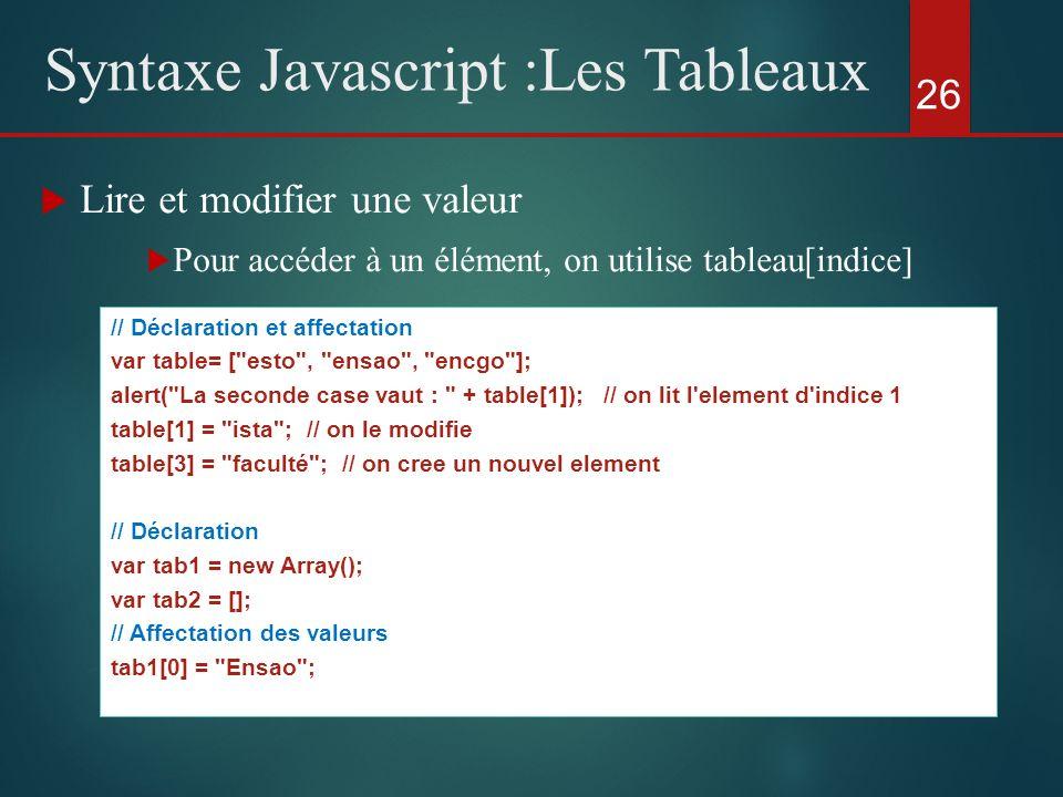 Lire et modifier une valeur Pour accéder à un élément, on utilise tableau[indice] 26 Syntaxe Javascript :Les Tableaux // Déclaration et affectation va