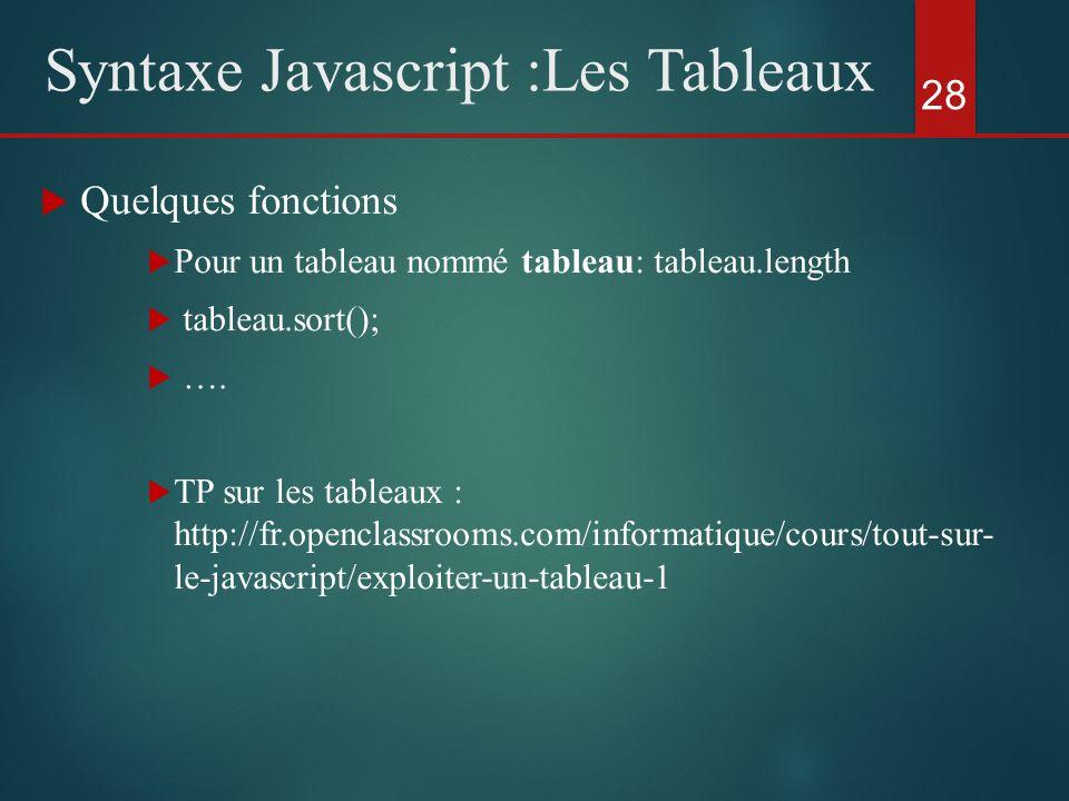 Quelques fonctions Pour un tableau nommé tableau: tableau.length tableau.sort(); …. TP sur les tableaux : http://fr.openclassrooms.com/informatique/co