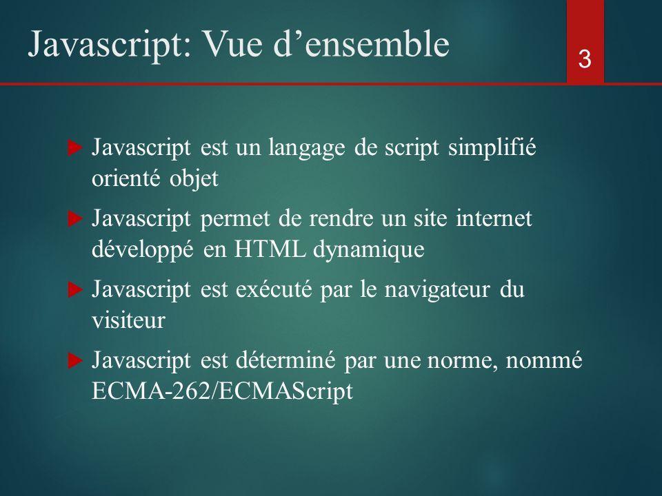 Javascript est un langage de script simplifié orienté objet Javascript permet de rendre un site internet développé en HTML dynamique Javascript est ex