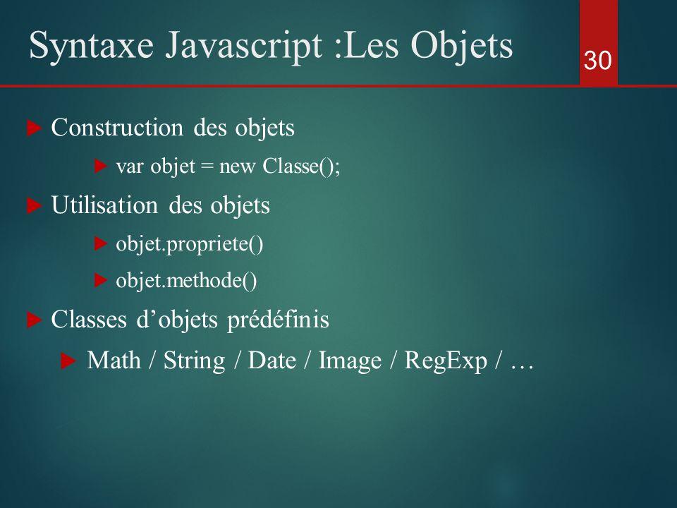 Construction des objets var objet = new Classe(); Utilisation des objets objet.propriete() objet.methode() Classes dobjets prédéfinis Math / String /