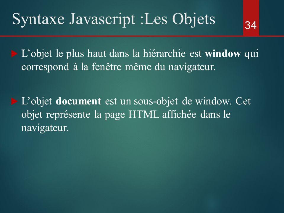 Lobjet le plus haut dans la hiérarchie est window qui correspond à la fenêtre même du navigateur. Lobjet document est un sous-objet de window. Cet obj
