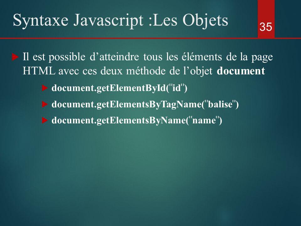 Il est possible datteindre tous les éléments de la page HTML avec ces deux méthode de lobjet document document.getElementById(