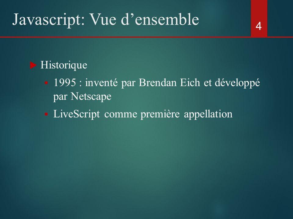 Historique 1995 : inventé par Brendan Eich et développé par Netscape LiveScript comme première appellation 4 Javascript: Vue densemble